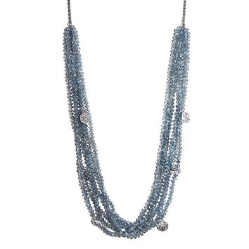 multi-layer beaded charm necklace