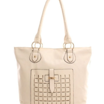 Weekend Traveler Faux Leather Tote With laser Cut Pocket