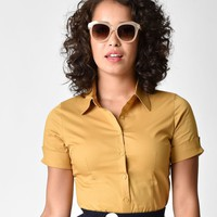 Retro Style Mustard Yellow Short Sleeve Collared Button Up Blouse