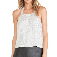Parker Justina Sequin Tank in Metallic Silver