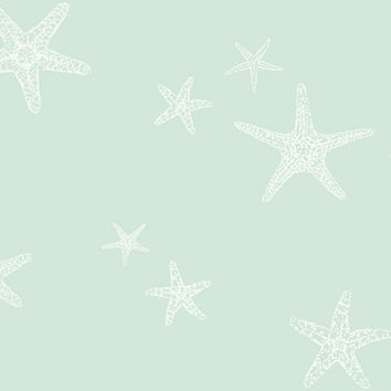 Starview Wallpaper in White and Metallic Blue design by Ronald Redding