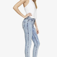 REVERSIBLE MID RISE JEAN LEGGING - ACID & FLORAL from EXPRESS