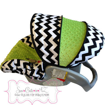 Black and White Chevron with JADE Infant Car Seat Cover
