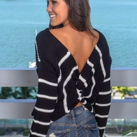 Black Striped Sweater with Twist Detail