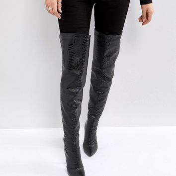 PrettyLittleThing Snake Effect Over The Knee Heeled Boot at asos.com