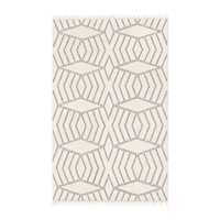 Diamond Stripe Wool Dhurrie - Ivory