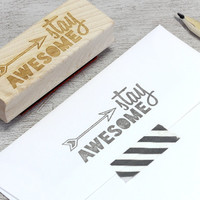 Stay Awesome Rubber Stamp: Wood Mounted - Arrow, Arrowhead, Southwestern, Stripes, Geometric, Grey, Modern Typography, DIY Stationery