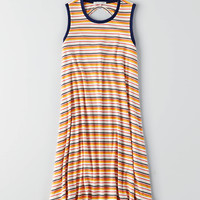 AEO Ribbed Striped Dress, Yellow