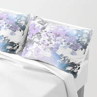 Watercolor Floral Lavender Teal Gray Pillow Sham by lilkiddies