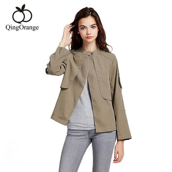 2016 New Autumn Womens Short Trench Coat Slim One Button Outerwear Casual Foldable Sleeve Overcoat Plus Size