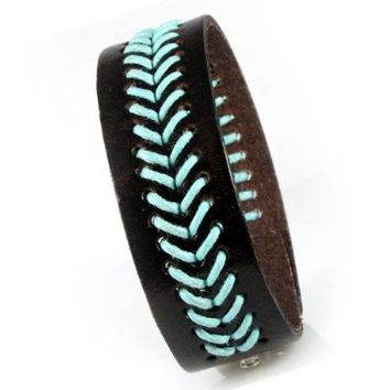 "Dark Brown Leather Cuff Bracelet with Woven Teal Design, Fits Men and Women 7.5 to 8.5"" with Adjustable Snaps"