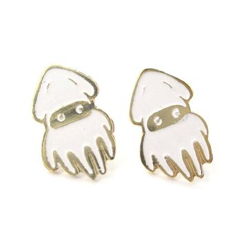Super Mario Themed Squid Blooper Shaped Stud Earrings in Gold | Limited Edition Jewelry