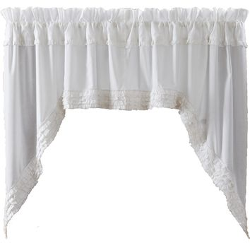 White Ruffled Sheer Swag Curtains