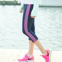 """Stripe Down"" Yoga Capris"