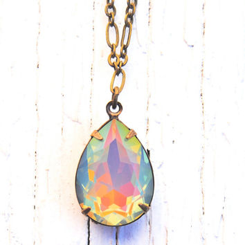 Swarovski Pendant Necklace - Pear Necklace - Rare White Opal Rainbow Necklace - Jewelry By Mashugnaa
