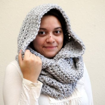 hood scarf, crochet hood, wool snood, oversized scarf, chunky infinity, crochet snood, wool scarf, chunky scarf / THE RAE / Pewter