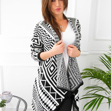 Fashion Long Sleeve Grometric Patterned Open Front Asymmetric Design Cardigan - NOVASHE.com