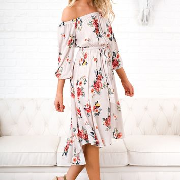 Waiting For That Moment Floral Dress (Light Taupe)