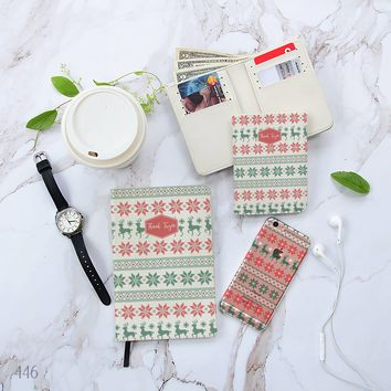 Reindeer Christmas Pattern Combo Notebook, Wallet and Phone case