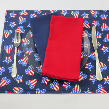 Red, White & Blue Placemats, Patriotic, 4th of July Decor, Optional Matching Blue and Red Napkins and Table Runner, New Home Gift, Set of 2