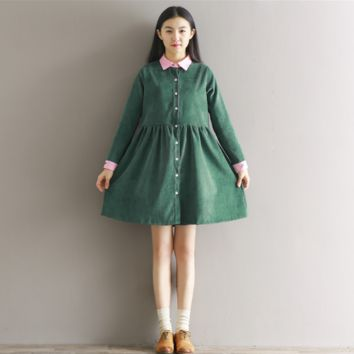 HIT COLOR STITCHING CORDUROY BIG SKIRT DRESS TIDE