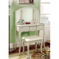 Classic-Style Girlfriend 3-Sided Mirror Vanity with Padded Stool