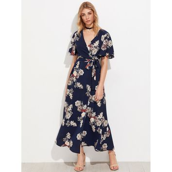 Multicolor V-Neck Short Sleeve Floral Print Wrap Maxi Dress