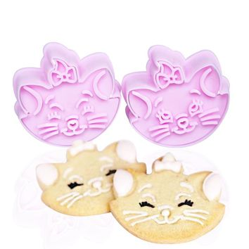 2pcs/set Lovely cats  Cookie Cutter Mold Fondant Cake  tools Sugarcraft Mold Bakeware DIY Plastic Biscuit Stamp