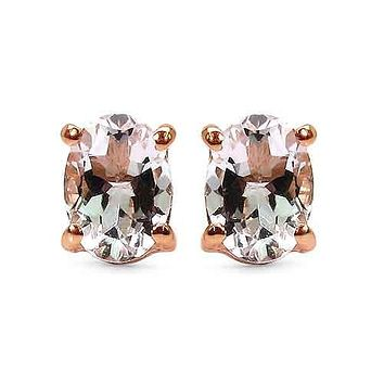 14K Rose Gold Natural 1.40CT Oval Cut Peach Morganite Stud Earrings