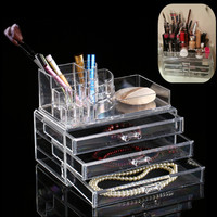 Acrylic Makeup Organizer Storage Box Case Cosmetic Jewelry 3 Drawer Cases Holder Makeup Container Rangement Maquill