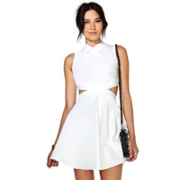 WHITE CUTOUT DRESS