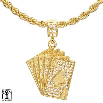 "Jewelry Kay style Men's Gold Plated Iced Casino Cards Pendant 22"" / 24"" Chain Necklace HC 1173 G"