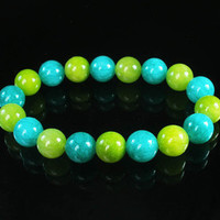 Bicolor GREEN & BEAN GREEN Chinese Jade Gem Prayer Mala Beads Bracelet WZ158