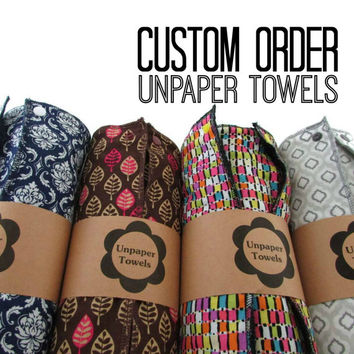 Custom Unpaper Towels | Reusable Paper Towels | Cloth Paper Towels | Cleaning Rags | Custom Kitchen Decor | Ecofriendly Gift Ideas