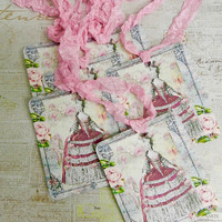 Marie Antoinette Gift Tags Seam Binding Tags French Gift Tags