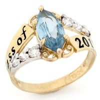 10k Gold Simulated August Birthstone 2016 Class Graduation Ring
