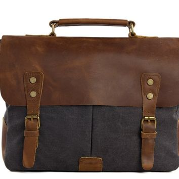 Handmade Waxed Canvas & Leather Satchel Messenger Bag - Dark Grey/Brown