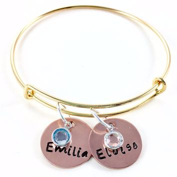 Name Bracelets, Gold Tone, Personalized With Birthstones