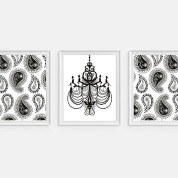 Paisley and Chandelier Art Print, Black and White, Bedroom Decor, Set of Three 5x7, 8X10, 11x14 Wall Decor, Home Decor, Modern Art