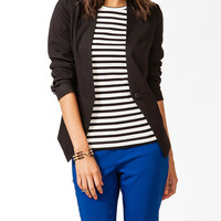 Collarless Faux Leather Blazer