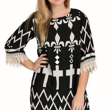 R. Rouge Women's Black & Cream Fleur De Lis & Cross Print 3/4 Sleeve Dress