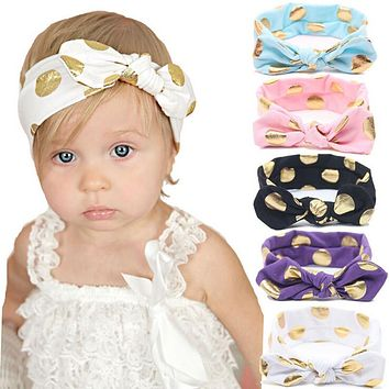 Baby Girl Gold Polka Dots Cotton Knotted Bow Headband