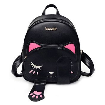New Casual Cute Cat bag Students backpack for teenagers girls School Backpacks Funny Preppy Leather Shoulder Travel bag