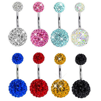 BELLY RING Crystal Disco Ball 316L Surgical Stainless Steel Belly Button Navel Ring Body Piercing