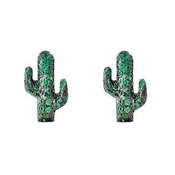 Emerald Saguaro Cactus Pavé & 14K Solid Gold Charm Stud Earrings (Real Emeralds ~ Single or Pair of Studs with Push or Screw Back Backings)