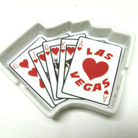 Las Vegas Ashtray Playing Cards Poker Royal Flush Change Key Holder