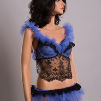 MediumLarge Dusty Blue and Black lace & tulle tutu by ScarletFairy