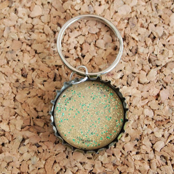 Polish Bottle Charms - upcycled jewelry necklace beige nail lacquer green gold glitter polish recycled resin  FREE shipping to USA