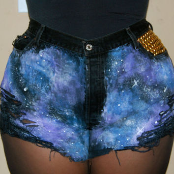 Studded High Waist Galaxy Shorts PLUS SIZES by ShopBasementGold