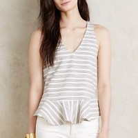 Paper Crown Bellevue Peplum Tank in Neutral Motif Size: